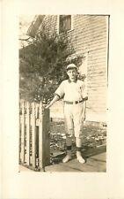 c1910 Rppc Teenage Boy in Baseball Uniform, Little League? Sports Unknown Us