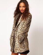ASOS Leopard Print Faux Fur Coat - Size 12 - On Trend