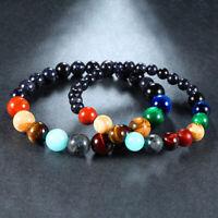 Universe Solar System Galaxy Eight Planets Stone Beads Braided Bracelet Bangle