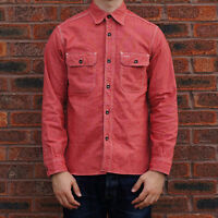 Sugar Cane Co. Jean Cord Wabash Stripe Work Shirt - Red - Made in Japan