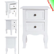 2x Bed Side Tables Vintage Bedroom Home Furniture Storage Unit Cabinet White DIY