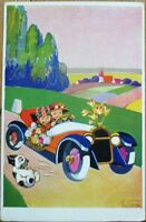 Lu Boruk/Artist-Signed 1931 Art Deco Postcard: Couple in Car, Dog in Road