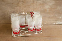 Vintage MCM White and Red Barware Drinking Glasses Retro Wire Caddy Holder