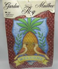 "Pineapple Welcome Garden Mailbox Flag 12x16"" Silk Reflections O'Bryant Evergreen"