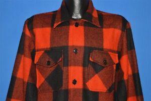 vtg 60s PIONEER SPORTSWEAR RED BLACK BUFFALO CHECK WOOL PLAID SHIRT JACKET L