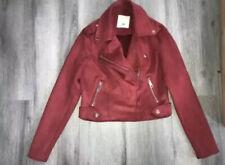 Ladies Size 6 Red River Island Faux Suede Biker Jacket