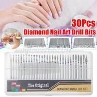 New 30Pcs/Set Diamond Nail Drill Bit For Art Nail Acrylic Cuticle Pedicure