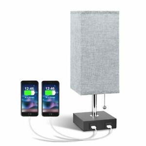USB Bedside Table Lamp, Modern Table with 2 Useful Quick Charging Port, Grey New