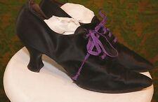 Volk`s Edwardian Black Satin Pointy Toe Tie Front Evening Shoes 6 - 61/2 Narrow