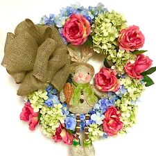 SALE! Spring Wreath Easter Summer Bunny Silk Floral  Hydrangea Rose In Outdoor