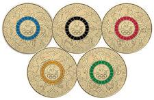 2016 $2 AUSTRALIAN OLYMPIC TEAM COIN SET OF 5 COLOURED COINS