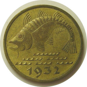 elfj Danzig Free City 10 Pfennig 1932 Cod Fish