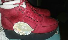 MTNG Shoes CHERRY RED Suede WEDGE PLATFORM ANKLE BOOTS LEATHER Petra Size 5-5.5