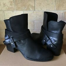 UGG ELYSIAN LEATHER BLACK ANKLE HEEL BOOTS BOOTIES SIZE US 8 WOMENS NEW