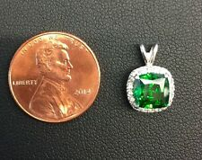 NEW!! 925 sterling silver Emerald cushion cut cz halo pendant