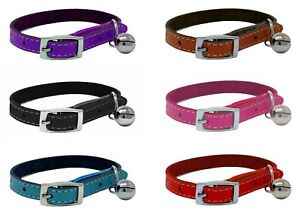 Cat Collar Real Leather with Safety Elastic, Bell, Range of Colours Available
