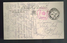 1916 England Army Post Office Censored Picture Postcard Cover to Luton Paris