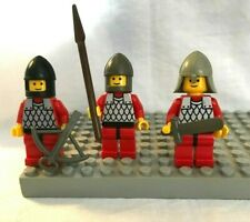 3 Vintage Lego Dragon Castle Knight Minifigures with Weapons & Fishscale Armor