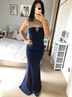 Quiz Navy Diamante Embellished Neckline Fishtail Dress Ball Gown Long