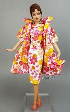 HandMade Pink Flower Dress Outfit Gown Coat Bag For Silkstone Fashion Royalty FR