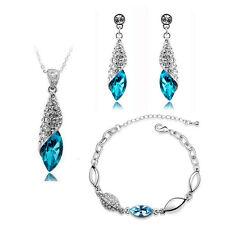 SPOSA SET Gioielli Cristallo Blu Orecchini a goccia collana e bracciale S276