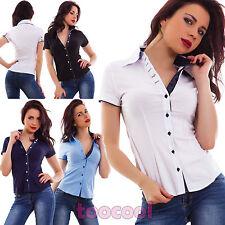 Camicia donna avvitata cotone maniche corte business elegante sexy nuova M1682