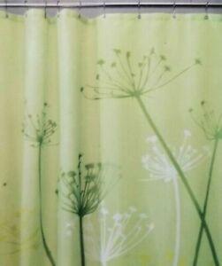"""InterDesign Tristle Green, Yellow, White Fabric Shower Curtain 72"""" x 72"""" NIP"""