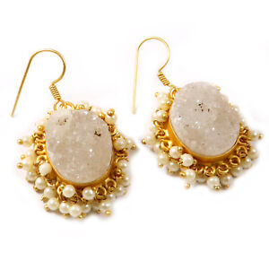 "White Titanium Druzy Designer Unique Gold Plated Jewelry Earring 1.5"" i548"