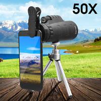 MOGE 50X Optical HD Lens Monocular Telescope + Clip Tripod For Phone Meteor
