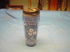 Blue with white flower and green leaves  Starbucks Barista 16 oz travel tumbler