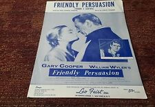 Friendly Persuasion Gary Cooper Anthony Perkins 1956 movie sheet music VG