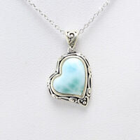 New 925 Sterling Silver Natural Dominican Larimar Gemstones Pendant Necklace