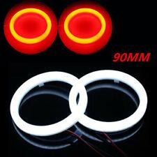 2pcs 90mm DRL COB LED Angel Eyes Halo Ring Fog Headlight Lamp Light Red