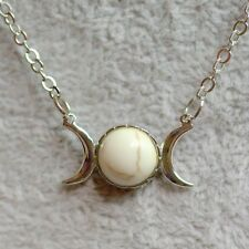 Silver Plated White Turquoise Imitation Triple Moon Wicca Pendant Necklace