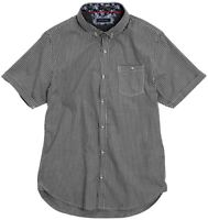 Men's Brave Soul Clement - S/S Fine Checked Shirt Medium Black/White