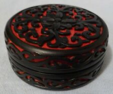 Vintage Beautiful Chinese Antique Red Black Cinnabar Round Box w/ Floral Design