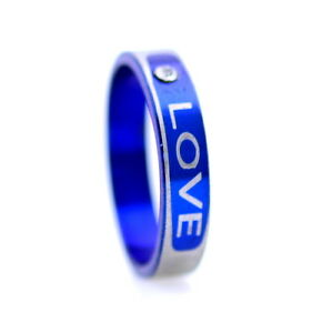4mm wide blue stainless steel love ring with a crystal, UK Size M