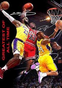 Michael Jordan Lebron James Kobe Bryant Greatest Signed Autograph A4 Poster