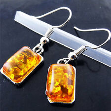 Amber Earrings 925 Sterling Silver S/F Drop Dangly Hook Ladies Classic Design