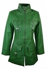 Leather Jacket Coat Trench Womens Size Women Long Genuine New overcoat Green