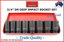 """3/4"""" DR DEEP IMPACT SOCKET SET AMPRO TRADE QUALITY AIR TOOLS GUN AF SPECIAL"""