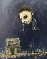 ORIGINAL art artist GUS FINK Painting outsider horror lowbrow brut MICHAEL MYERS