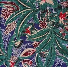 Green, Blue, Red Floral LEHRER Half Ascot Cravat Silk Hand Made Switzerland
