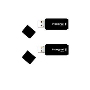 BRAND NEW 2 pack Integral BLACK 128GB USB 2.0 Flash Drive