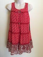 As U Wish Women's Juniors Sleeveless Dress Size Medium Red Boho Short New