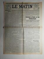 N447 La Une Du Journal Le Matin 29 juin 1914 assassinat héritier  Autriche