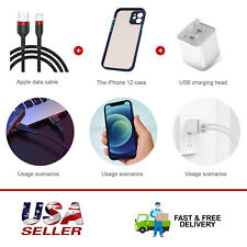Dual Port Charger+Black Usb Charging Cable+Shockproof Phone Case For iPhone 12