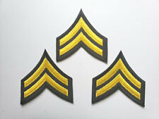 CORPORAL MILITARY SECURITY OFFICER RANK STRIPES PATCHES (3 LOT / BLACK / YELLOW)