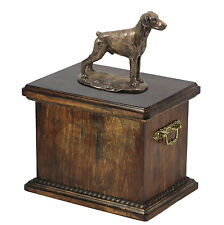 Wood Casket Doberman uncropped Memorial Urn for Dog's ashes,with dog statue.25