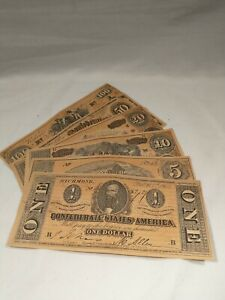 CONFEDERATE CURRENCY NOTES - 6 PIECE SET - 1960'S REPRODUCTIONS